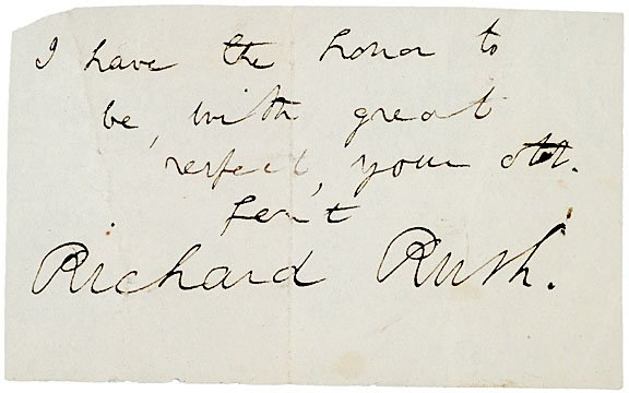 2020: RICHARD RUSH Autograph Note Signed, 1825