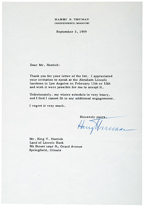 2024: HARRY S TRUMAN, Typed Letter Signed, 1959