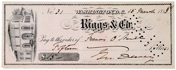 4001: GEORGE DEWEY, Check Signed, 1893