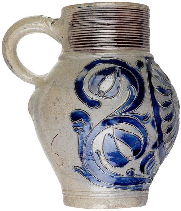 4004: c. 1750, Cobalt and Grey Westerwald Jug