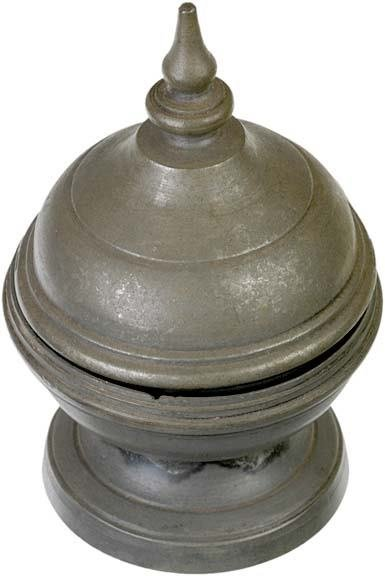 4006: Pewter-covered Salt Container, c. 1760