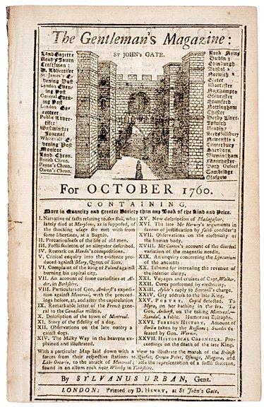 4007: 1760, THE GENTLEMANS MAGAZINE, London, England
