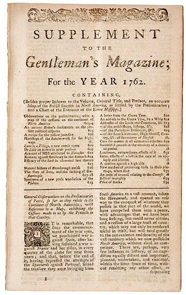 4008: 1762, Supplement to THE GENTLEMANS MAGAZINE