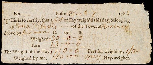 4019: 1782 Revolutionary War Era Hay Weight Fee Reciept