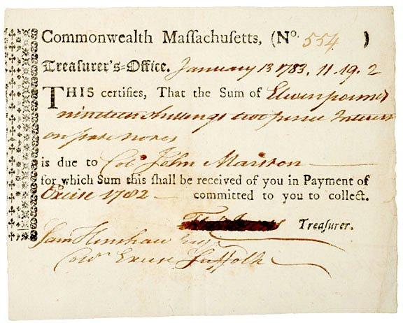 4023: John Marston Signed Document, 1783