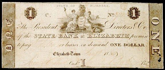 4111: Obsolete Currency, Elizabeth, NJ, $1