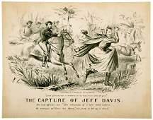 5127 THE CAPTURE OF JEFF DAVIS Lithograph c 1865