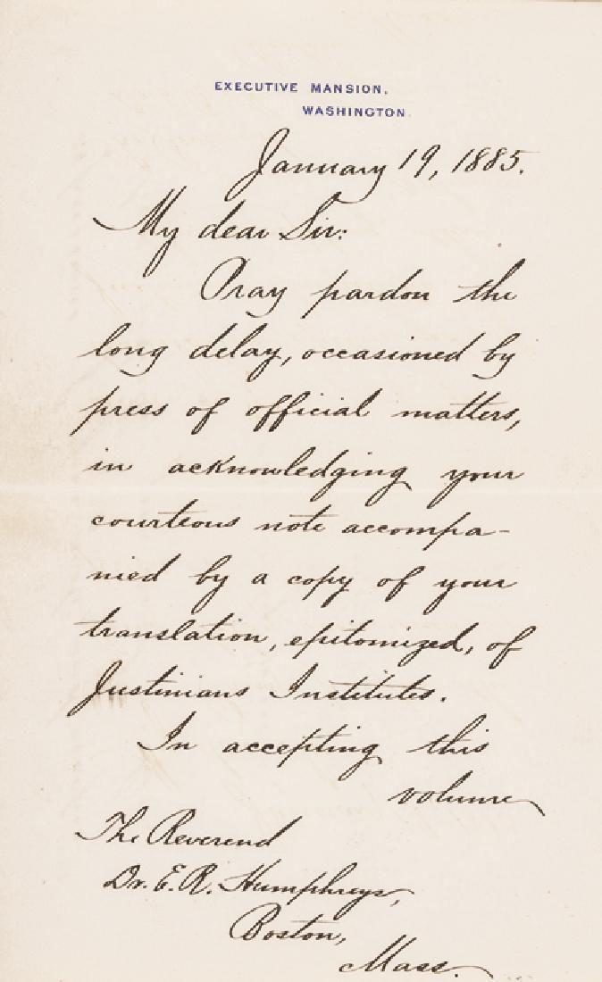 President CHESTER ARTHUR Executive Mansion Letter