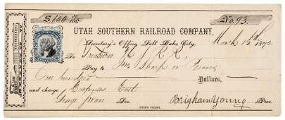1872 Mormon Leader BRIGHAM YOUNG Signed Check