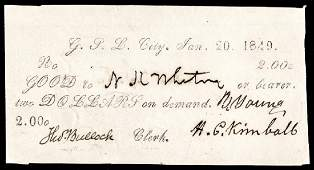 BRIGHAM YOUNG Signed 1849 G.S.L.C Mormon $2 Note
