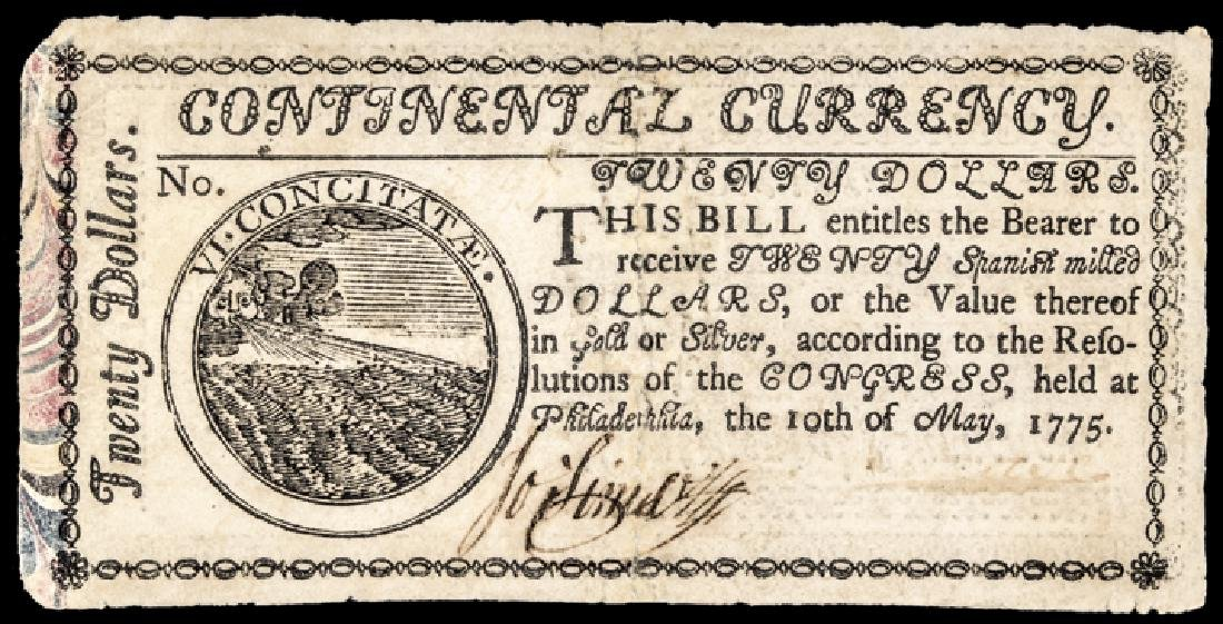 Continental Currency May 10, 1775 $20 MARBLED VF