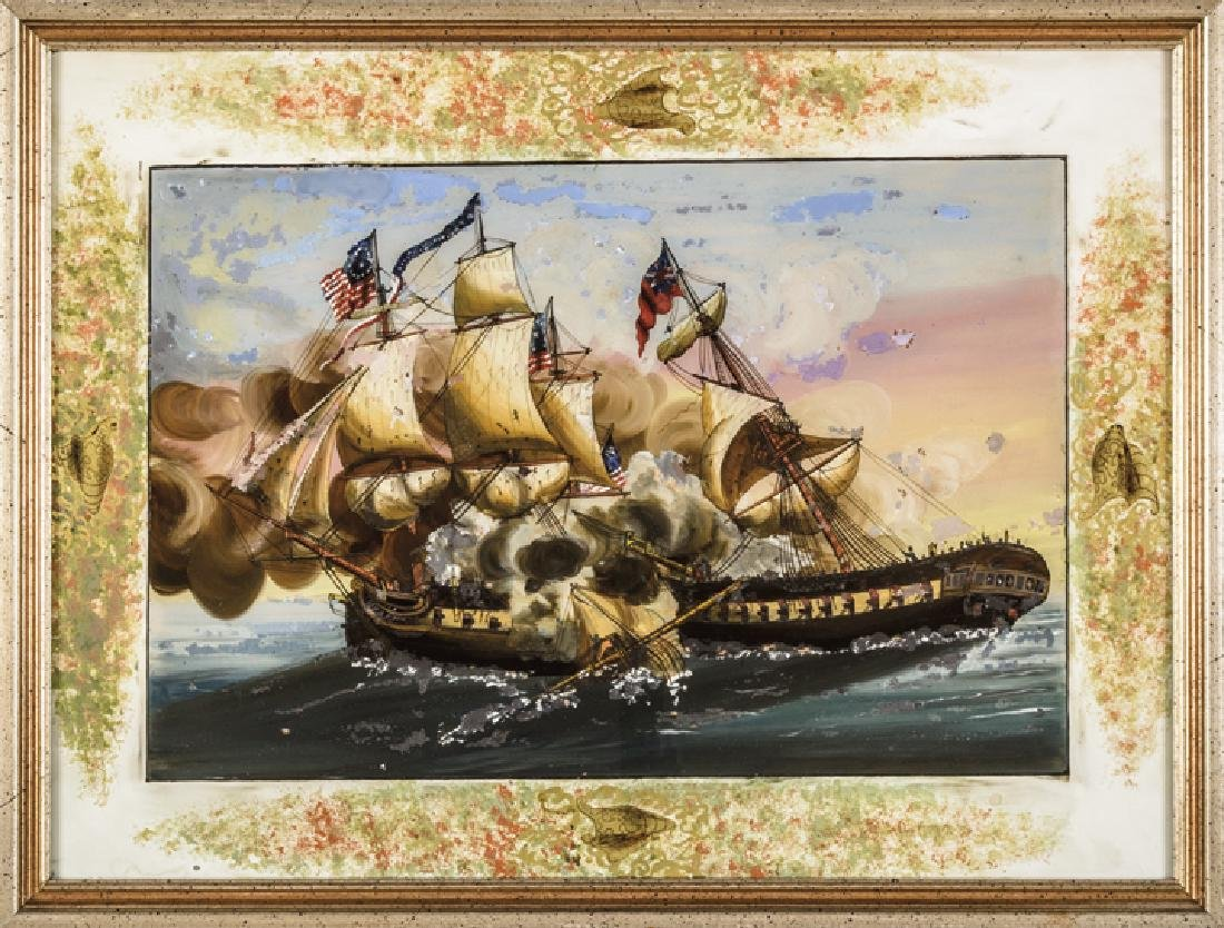 War of 1812 Painting on Glass - USS Constitution
