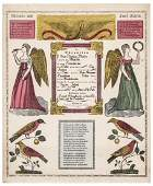 1862 Handcolored Pennsylvania Baptism Certificate