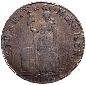 Ultra-rare 1794 Talbot Allum+lee Plain Edge Cent