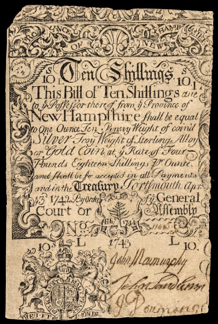 Colonial Currency, NH, April 3, 1742, 10s UNIQUE
