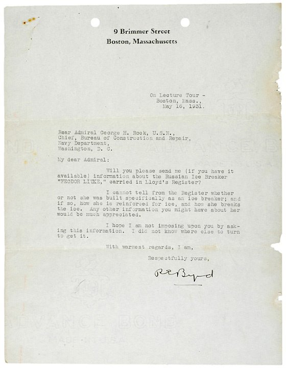 2010: Collection of Correspondence: R.E. BYRD