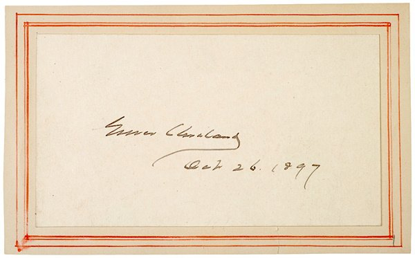 2012: Card Signed GROVER CLEVELAND