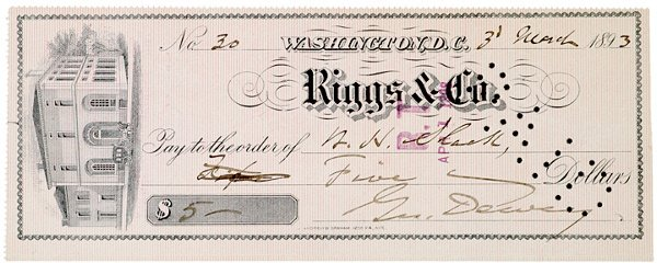 2014: GEORGE DEWEY, Check Signed, 1893