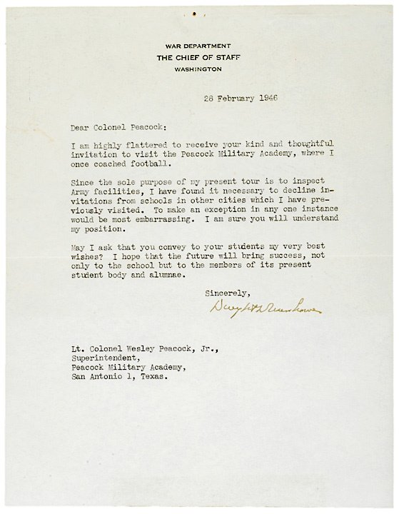 2015: DWIGHT D. EISENHOWER, Typed Letter Signed 1946