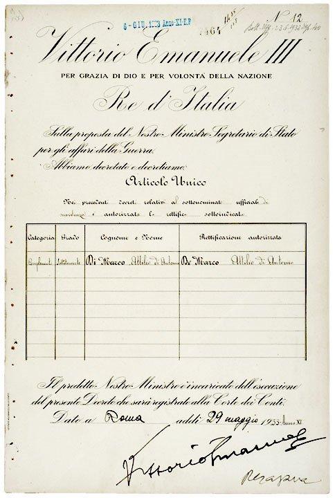 2016: VICTOR EMMANUEL III Signed Document, Rome 1933