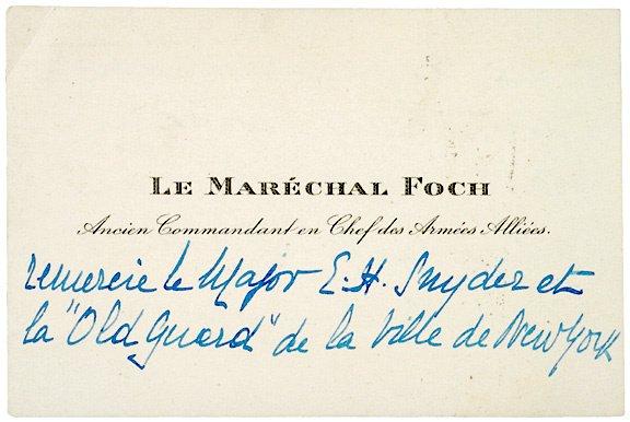 2017: FERDINAND FOCH, Autograph Note (unsigned)