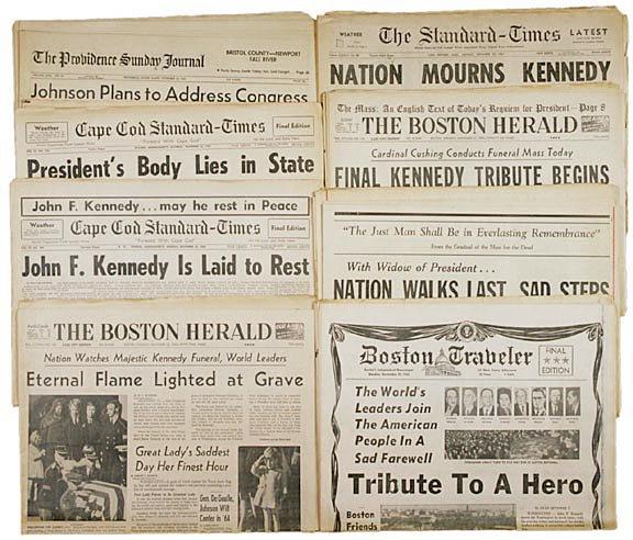 2022: JOHN F. KENNEDY - Nine Assassination Newspapers