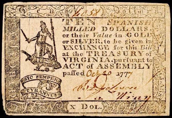2087: Colonial Currency, VA, October 20, 1777, $10