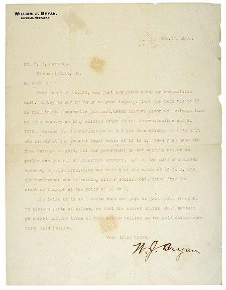 3002: 1900 William Jennings Bryan Letter Signed