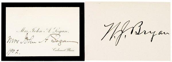 3003: WILLIAM JENNINGS BRYAN Autographed Card