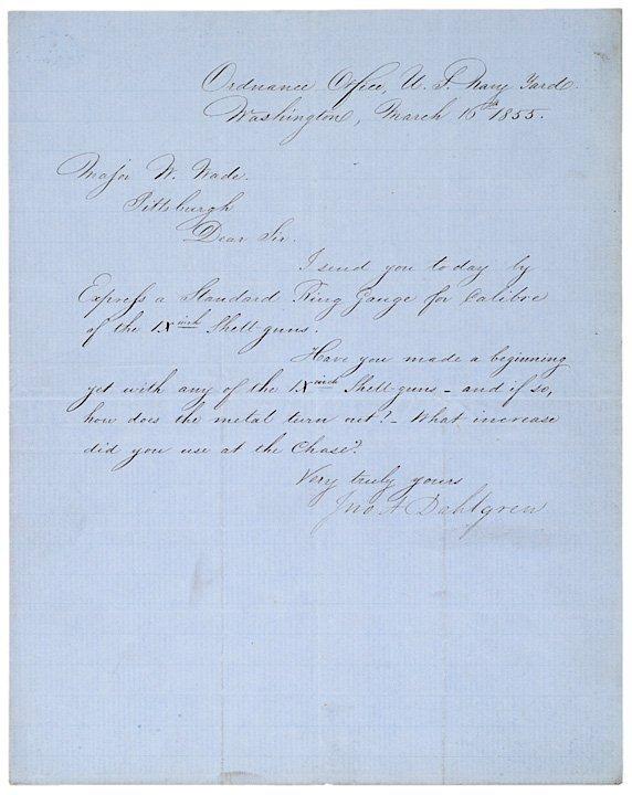 3005: Autograph Letter Signed JOHN A. DAHLGREN