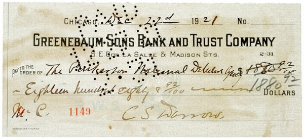 3006: Check Signed by CLARENCE DARROW 1921