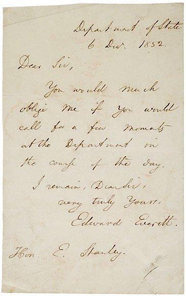 3009: EDWARD EVERETT Autograph Letter Signed, 1852