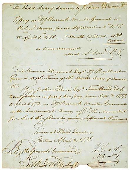 3014: General WILLIAM HEATH Signed Document