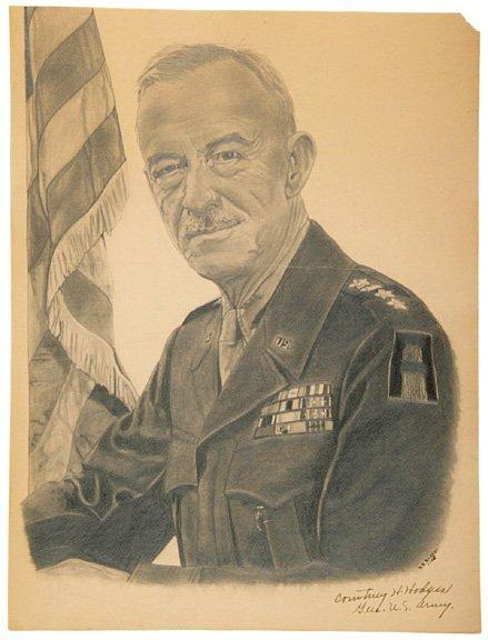 3015: COURTNEY H. HODGES, Signed Sketch