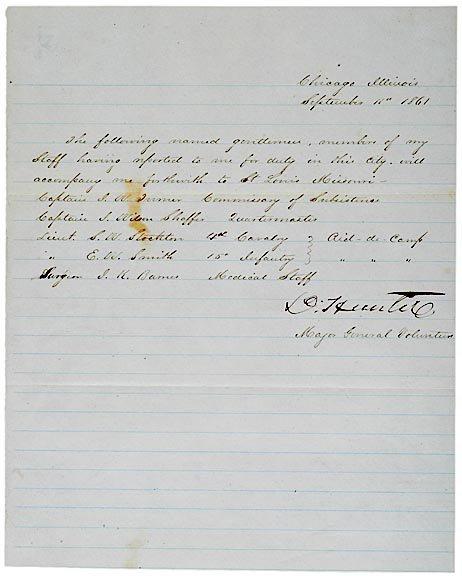 3016: DAVID HUNTER, Autographed Letter Signed, 1861