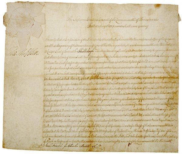 3018: THOMAS MIFFLIN, Document Signed, 1789