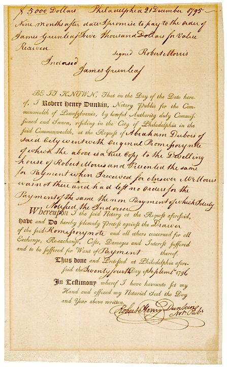 3020: ROBERT MORRIS, Signed Promissory Note