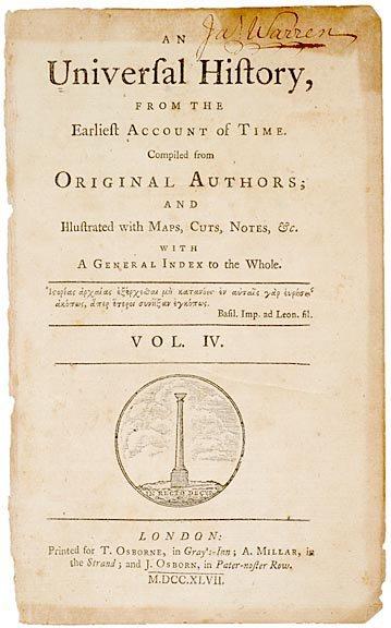 3024: JAMES WARREN, Title Page Signed, c. 1747