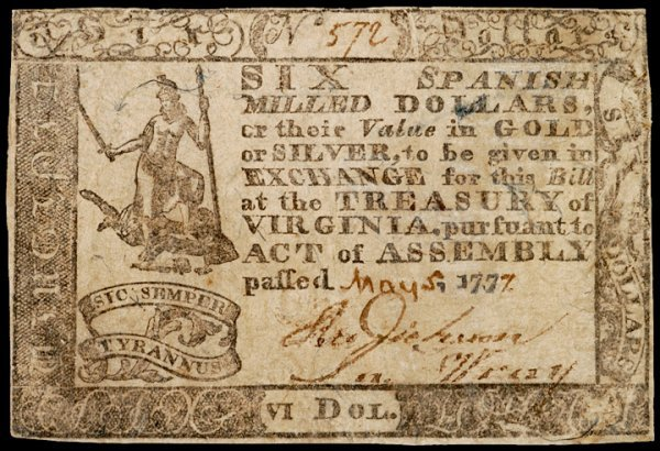 3074: Colonial Currency, VA, 1777, $6, PMG VF-20