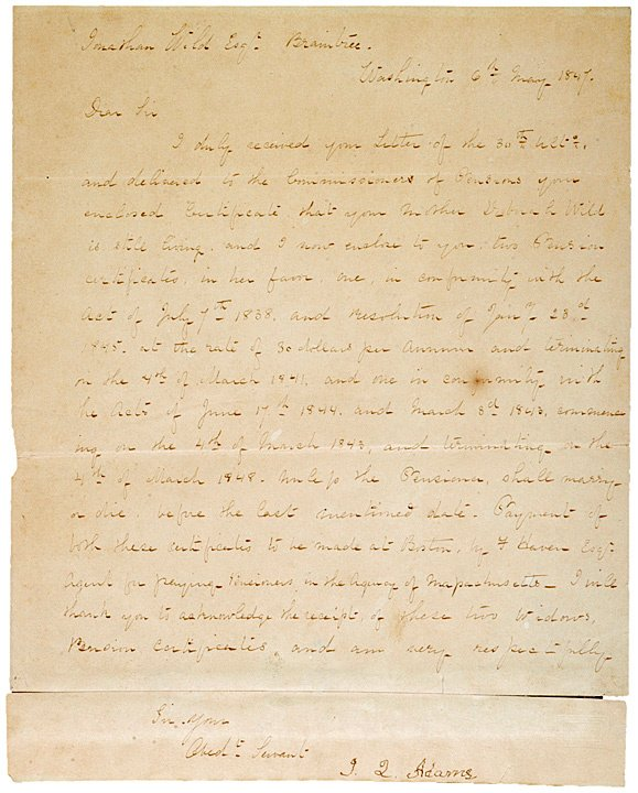 1: JOHN QUINCY ADAMS, 1847 Letter Signed