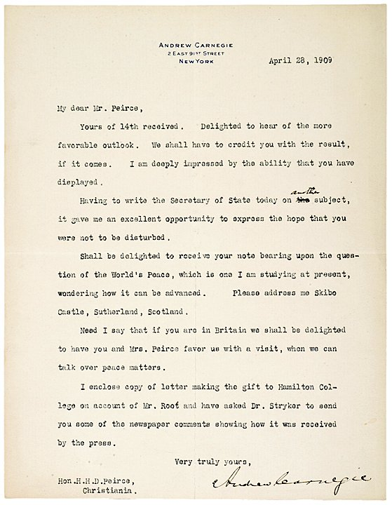 18: ANDREW CARNEGIE, 1909 Typed Letter Signed