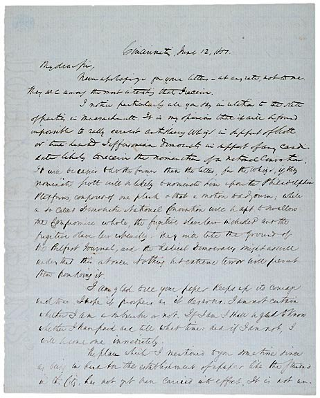 22: 1851 Political Content Letter, Compromise of 1850