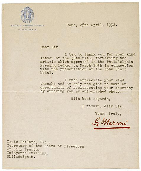 117: GUGLIELMO MARCONI, Typed Letter Signed, 1932