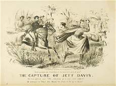 571 Lithograph 1865 The Capture of Jeff Davis