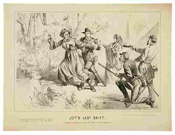 572: 1865 Civil War Lithograph JEFF'S LAST SHIFT