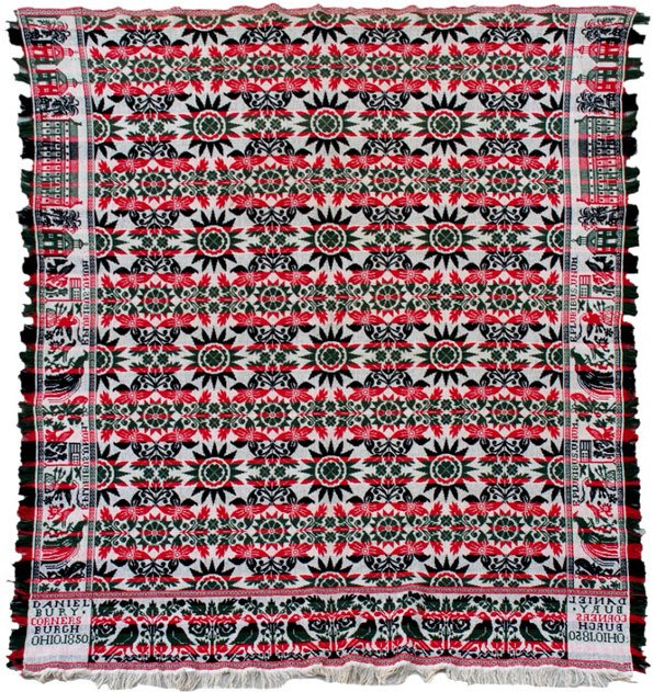 660: Jacquard Coverlet from Cornersburgh Ohio, 1850