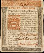 849: Colonial Currency, PA, March 20, 1771, 20s