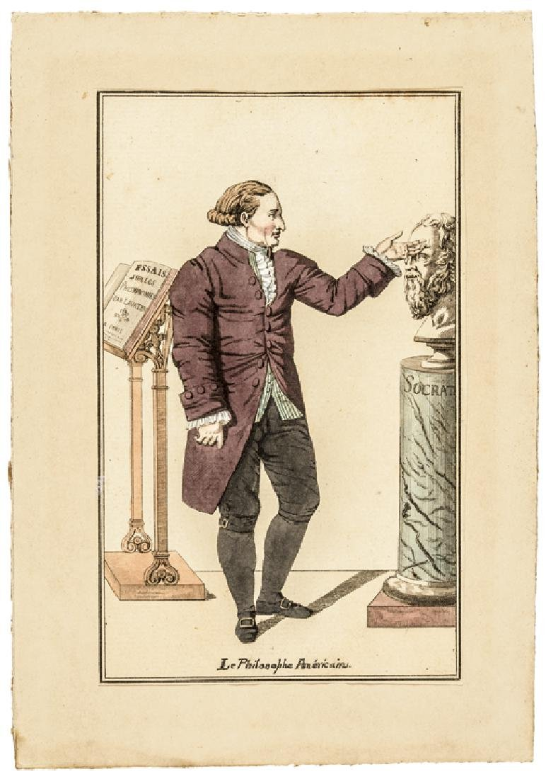 Hand-Colored Thomas Jefferson French Engraving