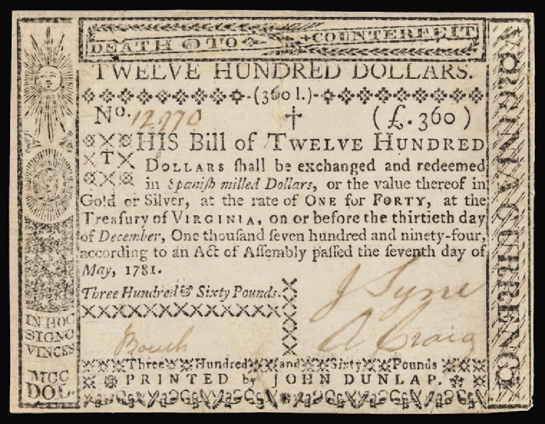 Colonial Currency, VA. May 7, 1781. $1,200 AU-50