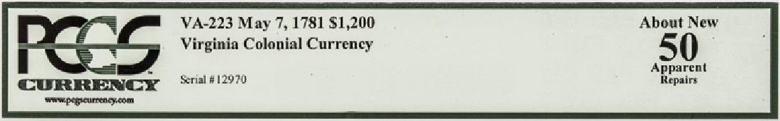 Colonial Currency, VA. May 7, 1781. $1,200 AU-50 - 5